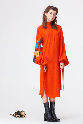 Orange Dress With Applique Sleeves