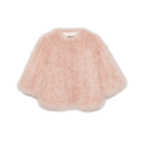 Feather Collarless Jacket - Pink