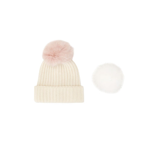 White Pompom Fox Hat
