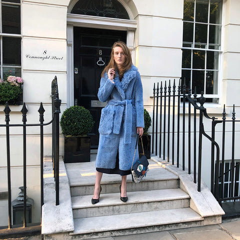 Shearling long coat - Blue