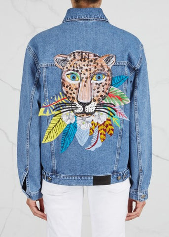 Leopard in Leaves Denim Jacket