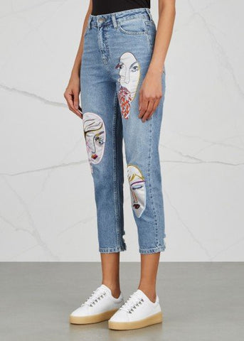 Faces Embroidery High Waist Jeans