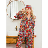 Red Silk Printed Pyjamas