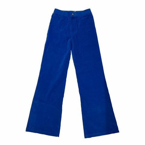 Velvet Stretch Flared Jean Trousers - Royal Blue