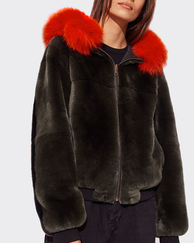 Reversible Hooded Bomber in Nylon with Rex & Fox Fur