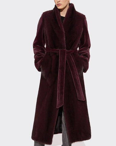 Long Mink-Fur Trench Coat