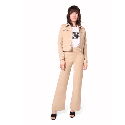 Velvet Stretch Flared Jean Trousers - Beige