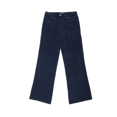 Velvet Stretch Flared Jean Trousers - Navy