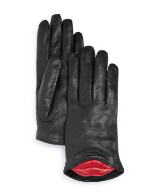 Lambskin Leather Kiss Gloves - Black/Red