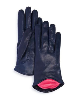 Lambskin Leather Kiss Gloves - Navy/Fushia