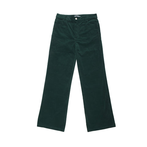 Velvet Stretch Flared Jean Trousers - Green