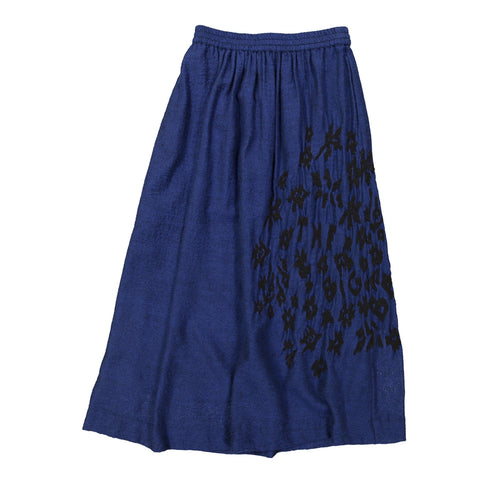 Blue Wool Embroidered Skirt