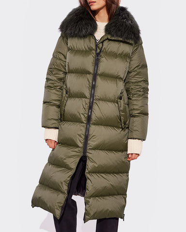 Long Down-Jacket with fox-fur collar - Khaki