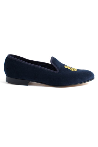 Navy velvet slippers Mens