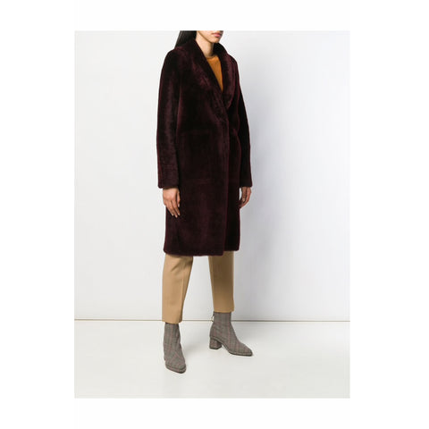Burgundy Long Shearling Coat