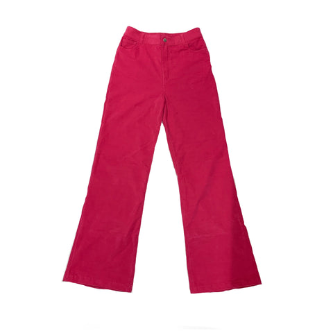 Velvet Stretch Flared Jean Trousers - Pink