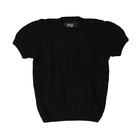 Half Sleeve Black Jumper