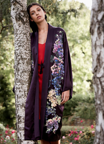 Gianna Silk Embroidered Long Kimono