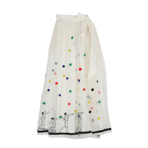 Cream Silk Spotted Skirt
