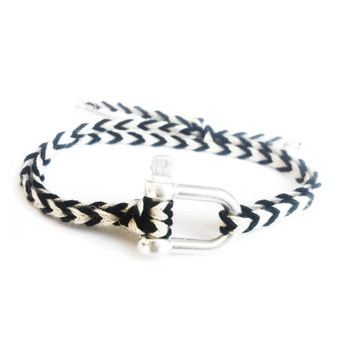 Braided Bracelet Large Manille Silver 925 - Black