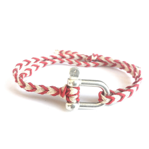 Braided Bracelet Large Manille Silver 925 - Red