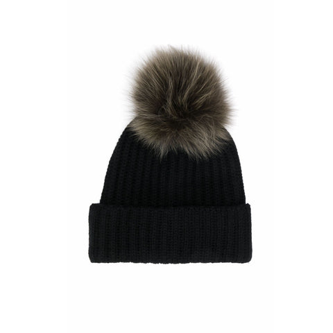Black Pompom Fox Hat