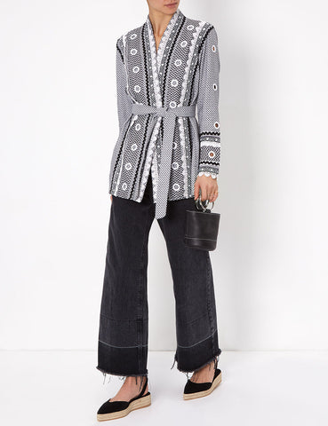Zur Embellished Cotton Kimono Jacket - Black