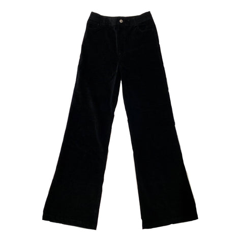 Velvet Stretch Flared Jean Trousers - Black
