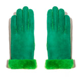 Shearling Neon Glove - Green