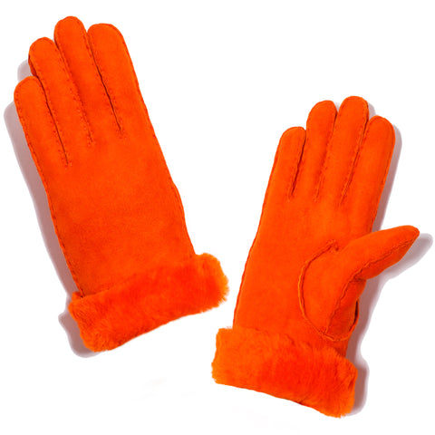 Shearling Neon Glove - Orange