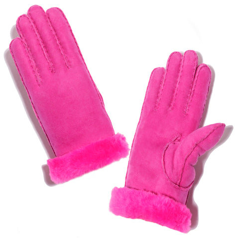 Shearling Neon Glove - Pink