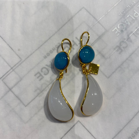 Bicolor Double Teardrop Hook Earrings - Blue & White