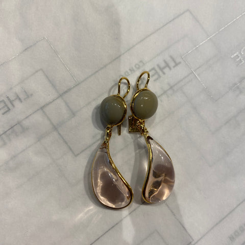 Bicolor Double Teardrop Hook Earrings - Amber