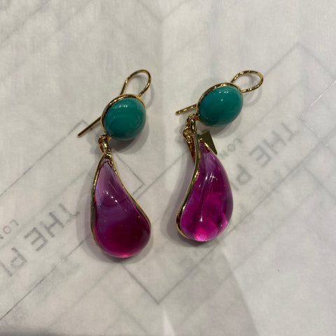Bicolor Double Teardrop Hook Earrings - Pink & Turquoise