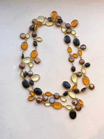 Long Pebble and Pearl Necklace - Amber Citrine