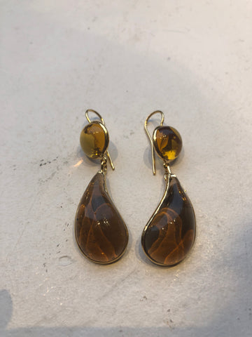 Bicolor Double Teardrop Hook Earrings - Dark Citrine