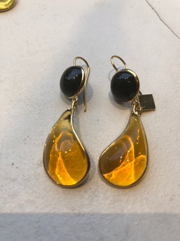 Bicolor Double Teardrop Hook Earrings - Black