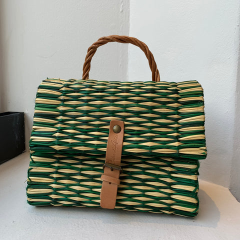 Traditional Straw Bag - Green Small