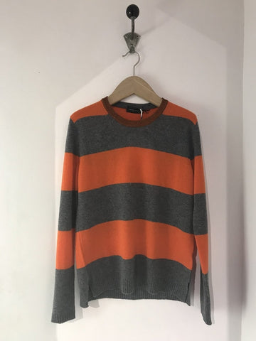 Cashmere blend striped sweater - Orange