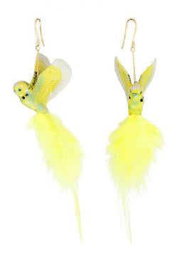 Yellow Budgerigar With Feather Earrings