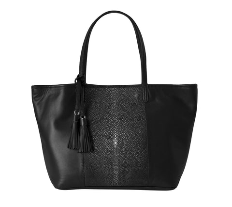 Stingray Shopper with Detachable Interior Clutch - Black