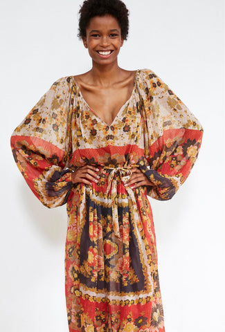 Matrioshka Silk Printed Midi Dress