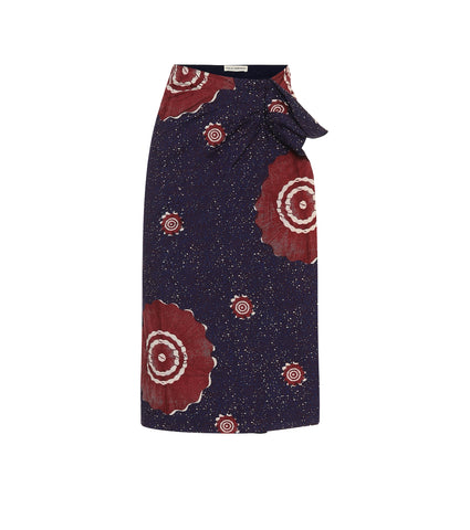 Ember printed cotton midi skirt