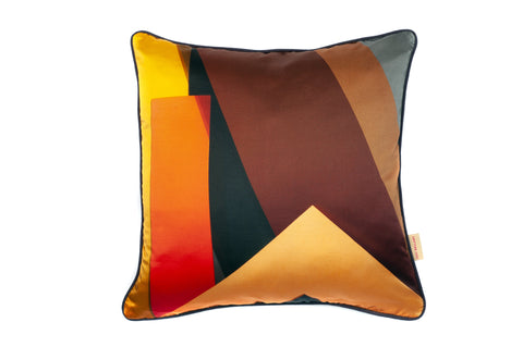 Brown Plinth Silk Cotton Square Cushion