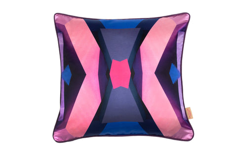 Pink/Blue Blocks Silk Cotton Square Cushion