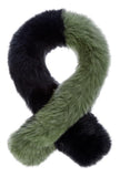 Polly Pop Faux Fur Scarf - Black & Khaki