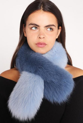 Polly Pop Faux Fur Scarf - Blue