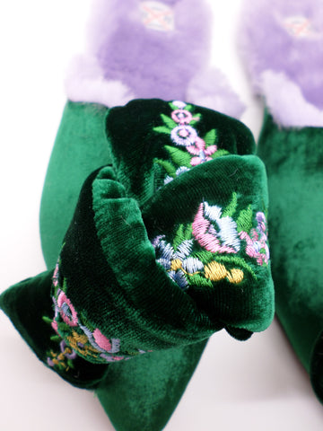Milana Embroidered Velvet Bow Mules - Emerald