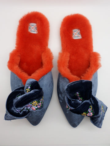 Milana Embroidered Velvet Bow Mules - Dark Blue