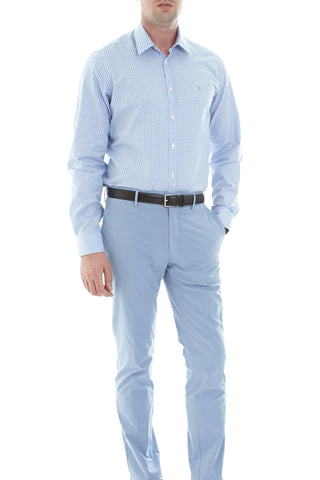 Pale blue poplin shirt